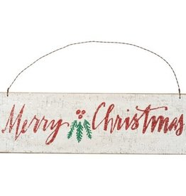 Merry Christmas Hanging Sign w/Holly & Glitter