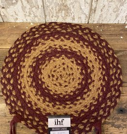 Red & Natural Braided, Round Chair Pad with Ties