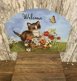 """Welcome"" Kitten with Spring Flowers, Butterfly / Large Fancy Slate"