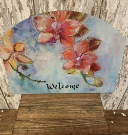 """Welcome"" Painted Spring Flowers / Large Fancy Slate"