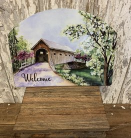 """Welcome"" Spring Day  Covered Bridge / Large Fancy Slate"
