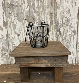Wire Star Candle Holder With Glass