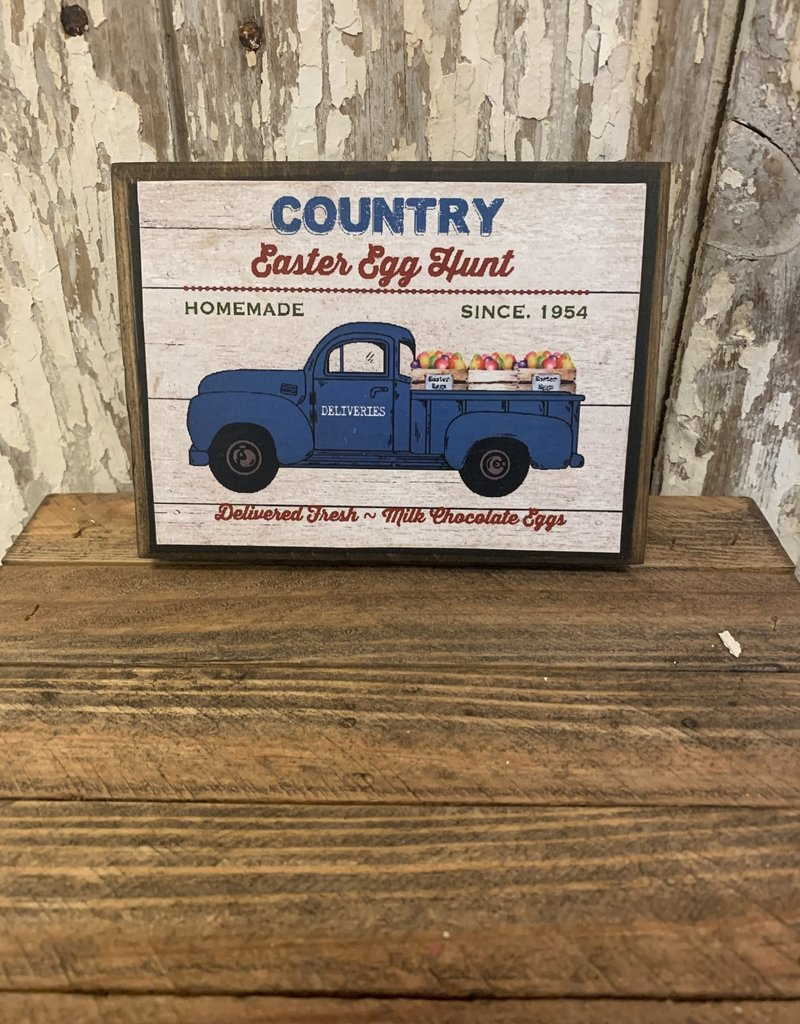 """""""Country Easter Egg Hunt"""" Wood Block Sign"""