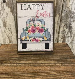 """""""Happy Easter"""" Blue Truck Wooden Block Sign"""