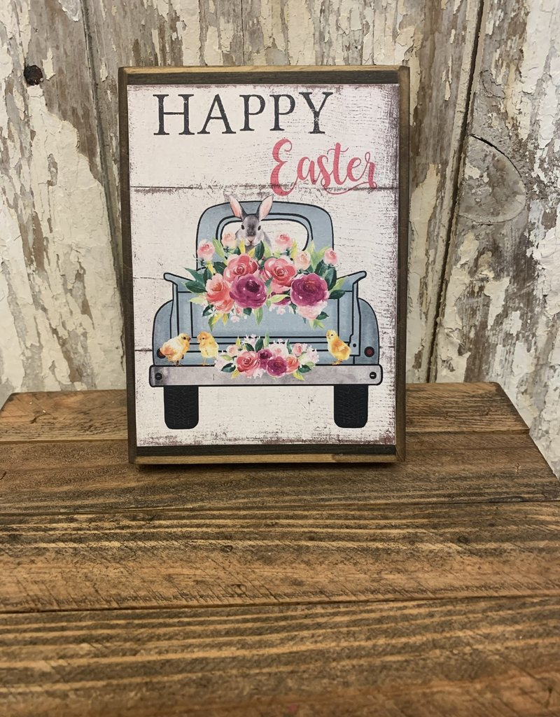 """Happy Easter"" Blue Truck Wooden Block Sign"