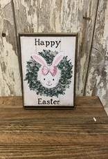 """Happy Easter"" Bunny Wreath Block Sign"