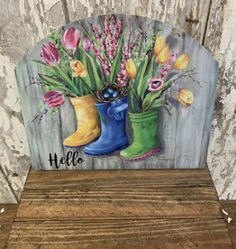 """Hello"" Spring Flowers in Boots / Small Fancy Slate"