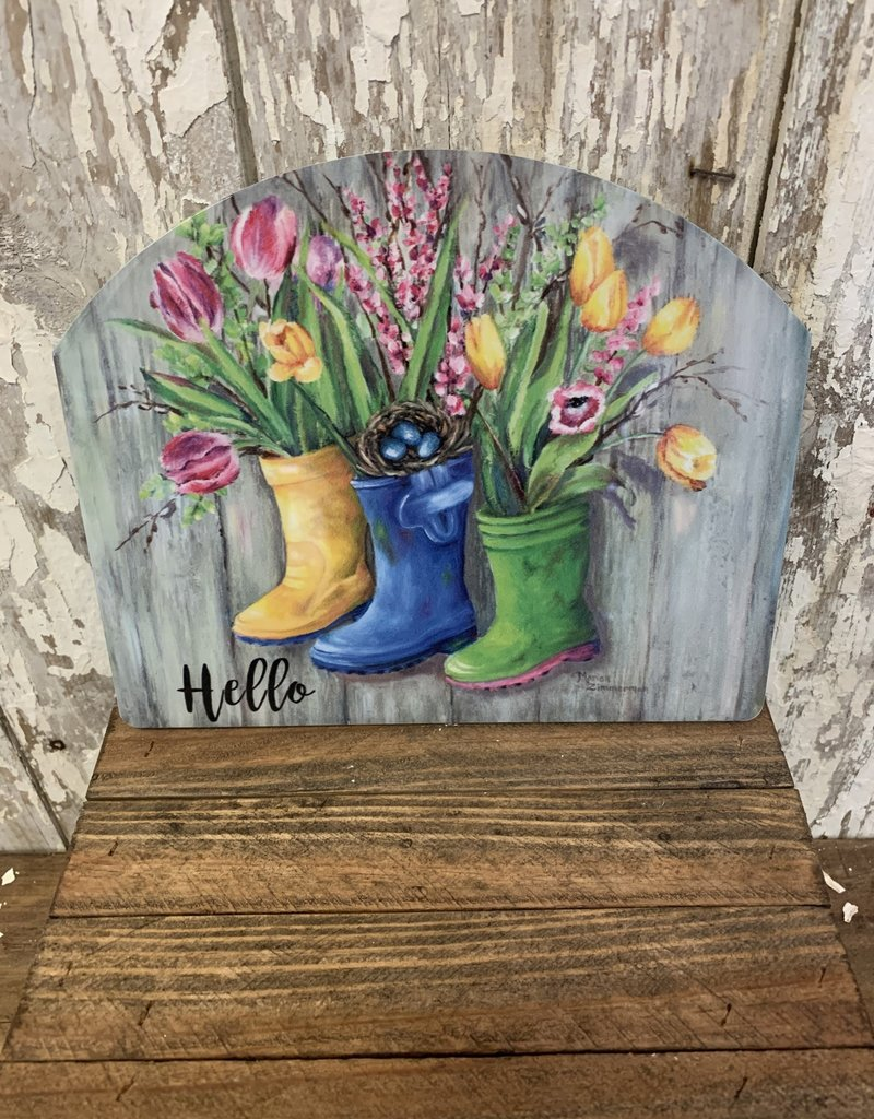 """""""Hello"""" Spring Flowers in Boots / Small Fancy Slate"""