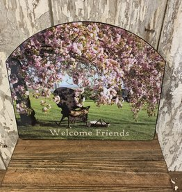 "Cherry Blossom Tree ""Welcome Friends"" / Small Fancy Slate"