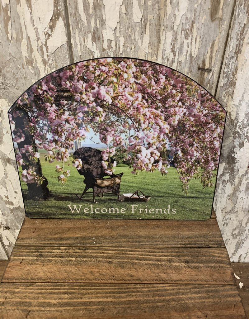 """Cherry Blossom Tree """"Welcome Friends"""" / Small Fancy Slate"""