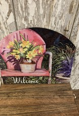 "Spring Flowers Vintage Metal Chair ""Welcome"" / Small Fancy Slate"