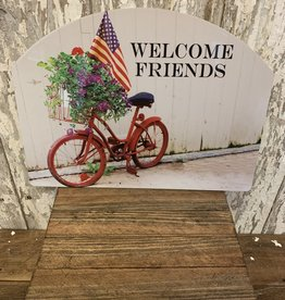 """Welcome Friends""  Bicycle, Flag, Flowers / Large Fancy Slate"