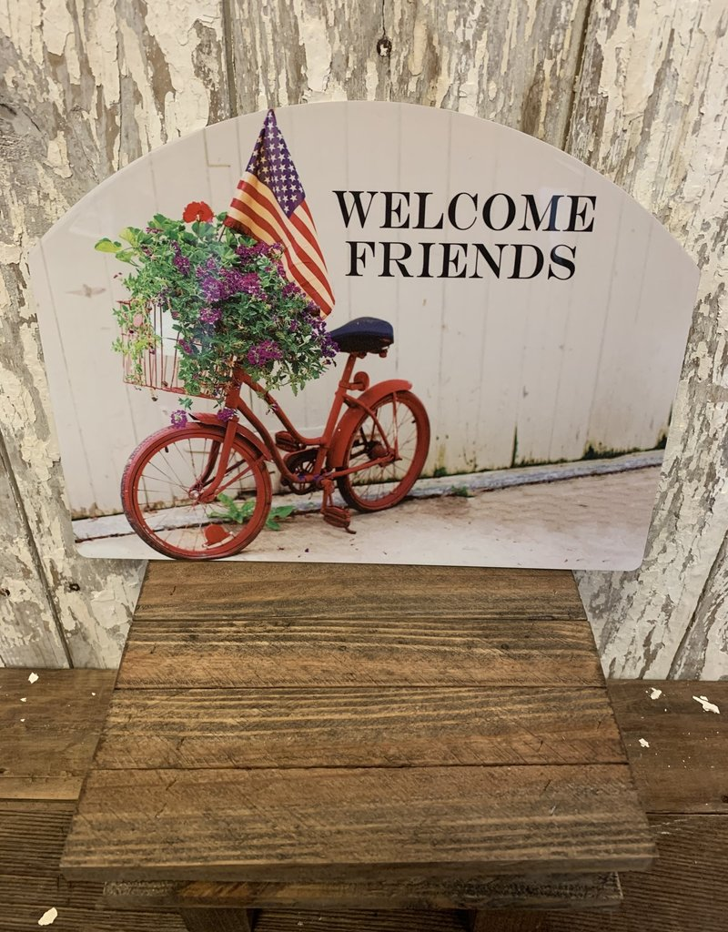 """""""Welcome Friends""""  Bicycle, Flag, Flowers / Large Fancy Slate"""