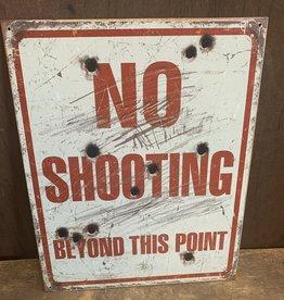 "No Shooting Tin Sign 12.5""x16"""