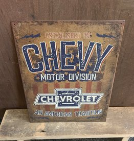 "Chevrolet An American Tradition Tin Sign 12.5""x16"""