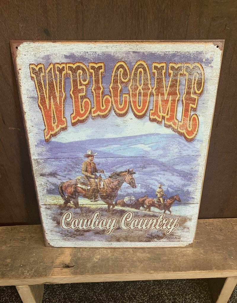 """Welcome Cowboy Country Tin Sign 12.5""""x16"""""""