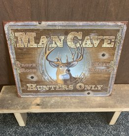 """Man Cave Hunters Only Tin Sign 12.5""""x16"""""""