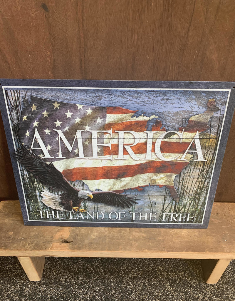 """America The Land Of Free - Tin Sign 12.5""""x16"""""""