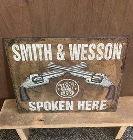 "Smith & Wesson Spoken Here - TIn Sign 12.5""x16"""