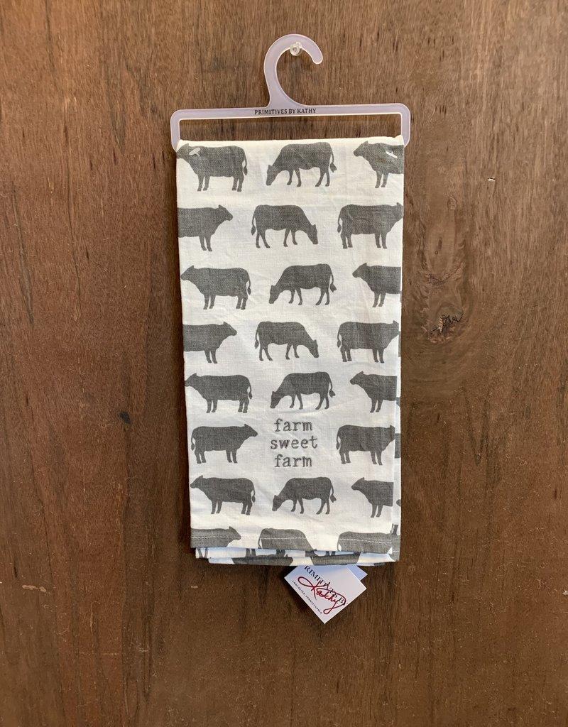 Farm Sweet Farm (Cows) Dishtowel