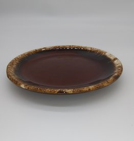 "Hull Pottery Brown Drip Glaze Dessert Plate 6 3/4"""