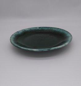 "Hull Pottery Green Drip Glaze Plate 8 1/2"""