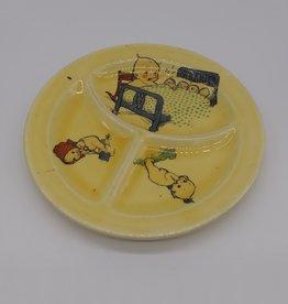 """Vintage Divided Baby Plate w/Kewpie Babies 7 3/8"""", c.1950"""