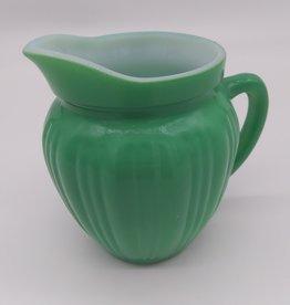 "Lime Green Ribbed Cream Pitcher (likely) Hazel Atlas Rainbow Series 4"""