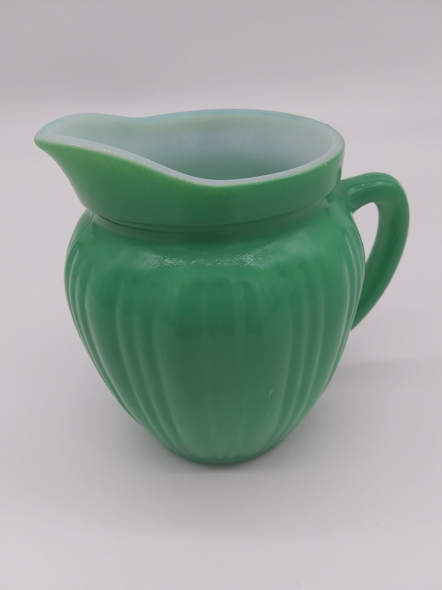 Lime Green Ribbed Cream Pitcher (likely) Hazel Atlas