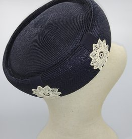Blue Pillbox Hat w/Lace '50-60's