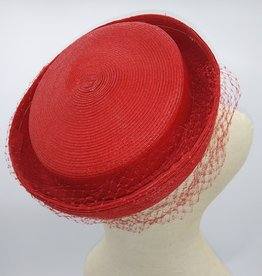 Vintage Red Pillbox Hat w/Veil 1950-60's