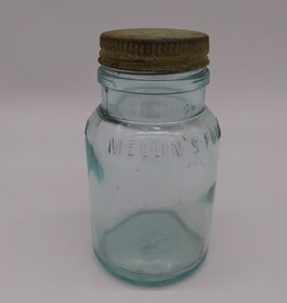 "Mellin's Food Co. Boston, US, Small Size Aqua Bottle w/lid 4.5"", c. 1930"