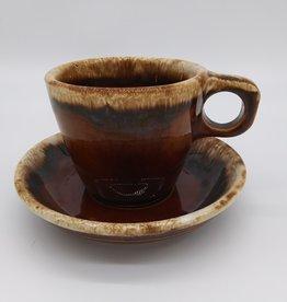 Hull Pottery Brown Drip Glaze 10 oz Mug and Saucer Set