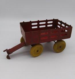 "Vintage Toy Miniature Red Metal Wagon w/Wooden Wheels 8.5 x 3.75"""