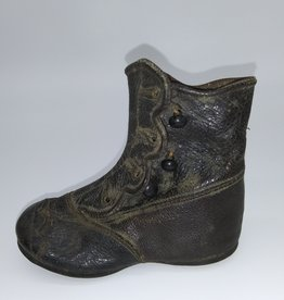 Black Leather Baby Button-up Shoe early 1900's