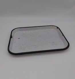 """Vintage Black &White Enamelware Tray 12 x 9.75"""""""