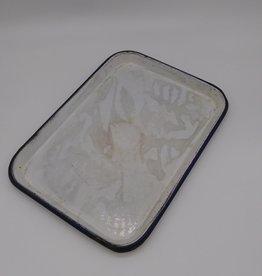 """Vintage Blue & White Enamelware Tray 13.5 x 9.5"""""""