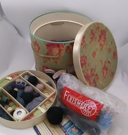 Full Round Vintage Sewing Box 1950's