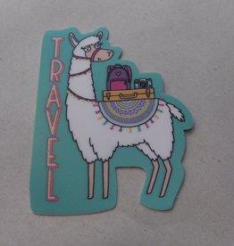 Travel Llama Sticker 2x3
