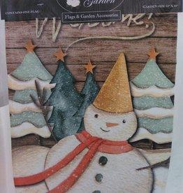 Welcome Snowman w/ Hat Garden Flag 13x18