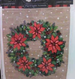 Happy Holidays Wreath Garden Flag 13x18