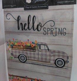 Garden Truck Hello Spring Garden Flag 13x18