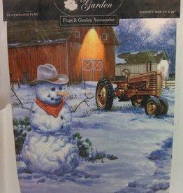 Country Snowman Garden Flag 13x18