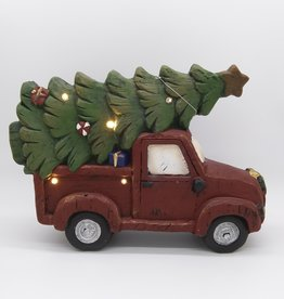 """Christmas Truck and Tree w/LED Lights 15.5x11"""""""