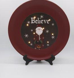 "Santa Believe LED Lit Decorative Plate w/stand 15.5"" (2pc)"