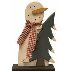 Wooden Frosty Snowman and Tree