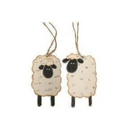 Wooden Sheep Ornament (S/4)