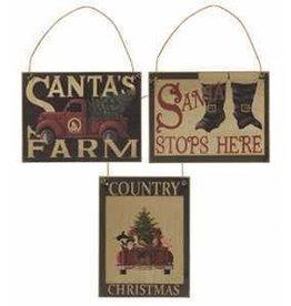 Santa's Farm Wooden Ornament (Truck with Tree)