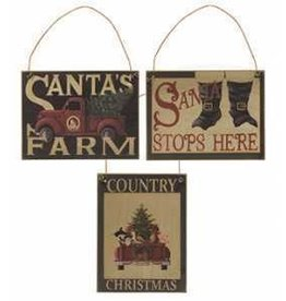 Santa Stops Here with Boots Wood Ornament