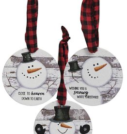 Happy Snowman Shiplap Ornaments S/3